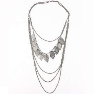 Fashion jewelry long chain alloy necklaces black leaf necklace sweater