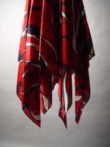 Romantic Black Rosette Bib Collar Retro Print Handkerchief Hem Trapeze