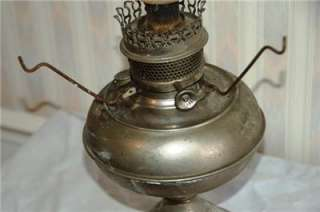 Original 1888 Rayo Kerosene Oil Lamp With Milk Glass Shade Nickel