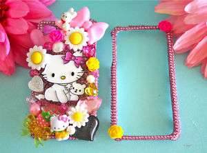 HELLO KITTY IPHONE 4G & 4S CHARMMY KITTY PINK CRYSTAL BLING 3D DECO