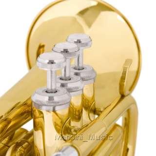 NEW BLACK SILVER GOLD BLUE MINI/POCKET Bb TRUMPET+TUNER