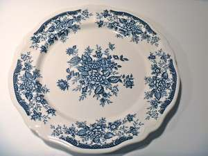 Blue Carnation Ironstone chop plate round platter Japan