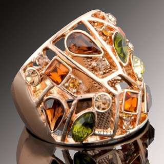 18K rose GOLD GP multi Swarovski crystal ring 1199