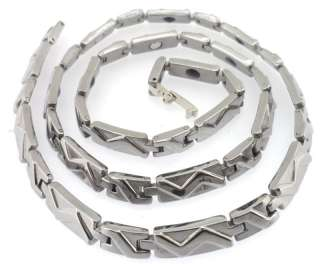 Solid Stainless Steel Silver Tone Magnetic Care Necklace