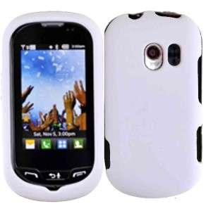 Rubberized HARD Protector Case Snap On Phone Cover Rubber White