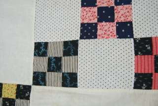 Double 9 Patch Hand Stitched Postage Stamp Antique Quilt Top MINT
