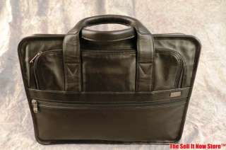 TUMI Black Leather Padded 15 Laptop Bag Briefcase Attache Tote Case