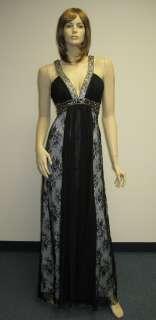 Sue Wong Designer Dress SZ Black Silver Gold Beaded Evening Formal