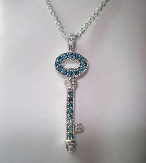 25CT SI1 BLUE & WHITE DIAMONDS KEY PENDANT NECKLACE HAND MADE 14K