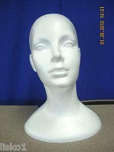 WHITE DELUXE #845 (13 1/2 TALL ) STYROFOAM MANNEQUIN WIG / HAT