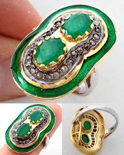 EDWARDIAN ZAMBIAN GREEN EMERALD DIAMOND ENAMEL FINE GOLD 925 SILVER