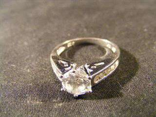 925 STERLING SILVER WOMENS BAND RING W/CRYSTAL SOLITAIRE & BAGUETTES