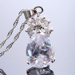 SALE Fashion Jewelry Pear Cut White Fine Clear Topaz Pendant Necklace