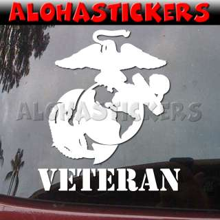 VETERAN UNITED STATES MARINE CORPS Eagle Globe Anchor Vinyl Decal