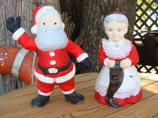 Ceramic Santa Claus and Mrs Claus Hand Painted Figurines Vintage