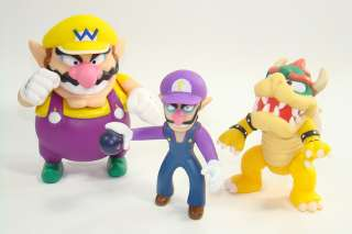 Lot 3 super mario bros figurines WARIO BOWSER WALUIGI
