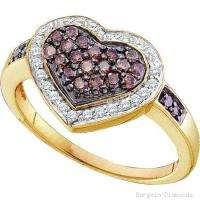 Chocolate Diamond 14K gold Heart Ring love Red Carpet