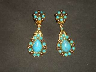 Jose and Maria Barrera Turquoise Clip on Earrings