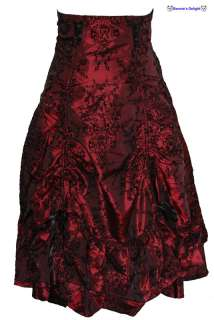 spin doctor wine red myrtel skirt which is covered in a black brocade