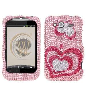 Lovely Heart Diamond Crystal Bling Protector Case for HTC