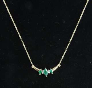 Estate Vintage 14K Gold Natural Emerald Diamond Chevron Pendant Chain