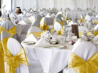 100 Gold Organza Chair Cover Sash Bow Wedding Party NEW