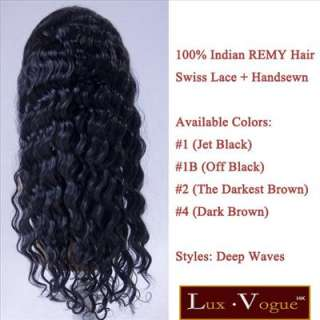 14 Deep Waves Indian Human Hair Swiss Lace Front Wigs