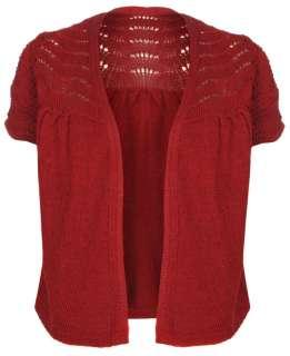 Crochet Knit Bolero Shrug Short Sleeve Cardigan in Wine S/M M/L
