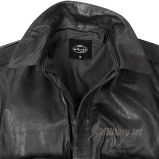 Military 1st   US LEATHER A2 MENS FLIGHT BOMBER JACKET BLACK S 3XL
