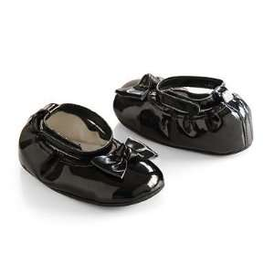 Carters Infant Black Bow Mary Jane Crib Shoes, Newborn