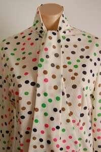Vtg 60s MOD Playful Polka Dot Tie Front Blouse Sz Lg