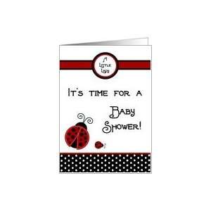 , Black and White Polka dot Boarder Girl Baby Shower Invitation Card