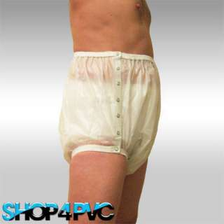 VERY HIGH WAISTED MILKY WHITE .007 SNAP ON ADULT PLASTIC PANTS