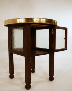30s 30 ART DECO small round smokers table oak brass top