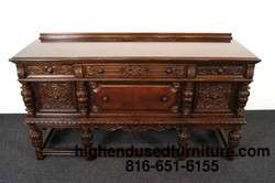 Antique Oak Gothic Revival Jacobean Carved Sideboard / Buffet