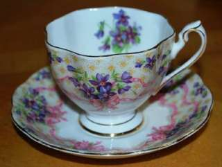 Queen Anne Sweet Violet Pattern Cup and Saucer Set Fine Bone China