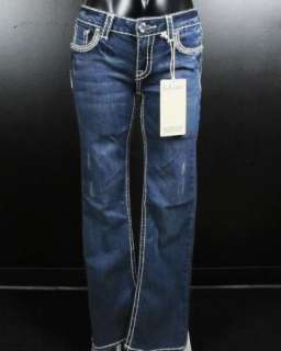 NWT Womens LA IDOL Bootcut Jeans WHITE OUTLINE WITH SILVER STITCH