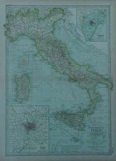 1897 Map ITALY Tuscany Rome Venice Sicily Genoa Naples