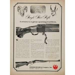 1968 Ad Sturm Ruger No. 1 Single Shot Rifle Hunting Gun   Original