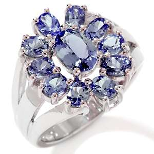 80ct Tanzanite Sterling Silver Oval Cluster Ring