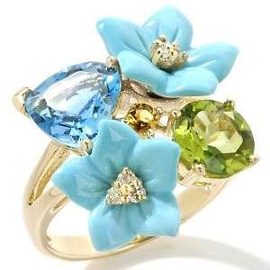Sleeping Beauty Turquoise and Gemstone 14K Flower Ring