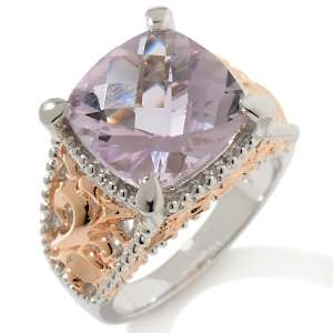 Victoria Wieck 5ct Pink Amethyst Cushion Cut Sterling Silver Ring with
