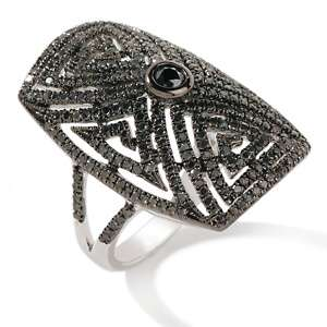 29ct Black Diamond Sterling Silver Art Deco Ring