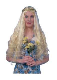 Blonde Hippie Flower Child Wig  Cheap 60s Wigs Halloween Costume for