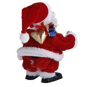 tocar guitarra e andar de Papai Noel de brinquedo de Natal com música