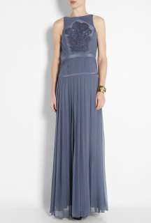 Tibi  Smoke Blue Boatneck Maxi Dress by Tibi
