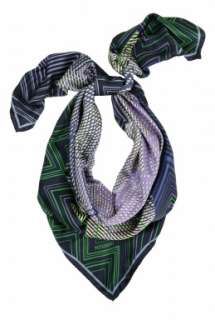 Green and Blue Silk Zig Zag Scarf by Missoni   Multicoloured   Buy