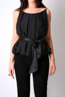 Black Salazar Ribbon Belted Top By Malene Birger   Black   Buy Tops