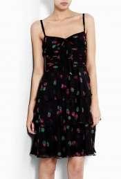 Moschino Cheap & Chic  Strawberry Print Tiered Silk Chiffon Dress by