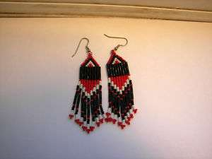 Red Black / white seed beaded earrings handcrafted